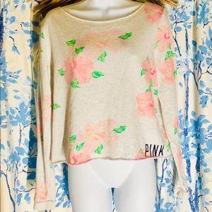 PINK floral crop sweatshirt